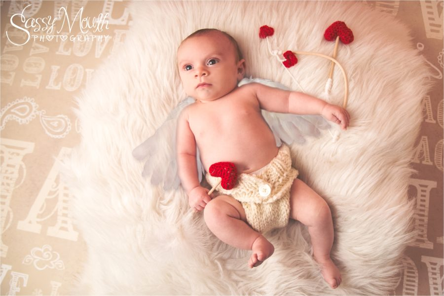 Cupid Baby Valentine Portrait Sassy mouth Photography krystalized Designs