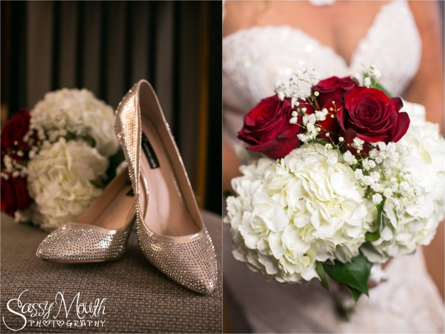 CT Wedding Photographer Sassy Mouth - Red and White Bouquet Detail