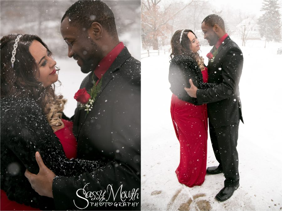Romantic Winter WEdding Portrait Red Dress Sassy Mouth Photography